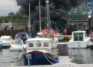 Fire at Conwy Marina