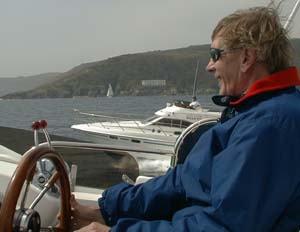 Rupert Moore at the helm of Sunkarla
